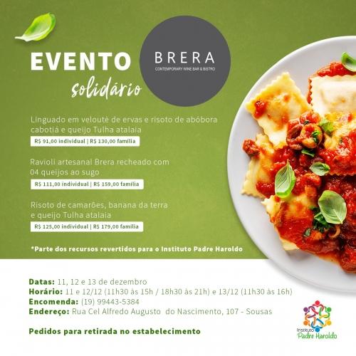 Brera Bristrô, em parceria com o Instituto Padre Haroldo, traz pratos contemporâneos em evento solidário